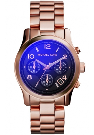 MICHAEL KORS Women's Chronograph Runway Rose Gold-Tone Stainless Steel Bracelet Watch 38mm