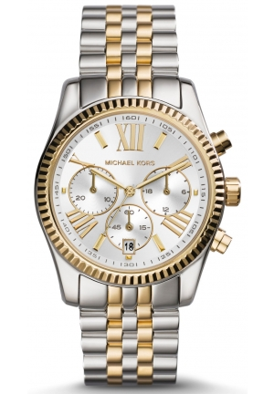 MICHAEL KORS Lexington Chronograph Two Tone Gold Watch 38mm