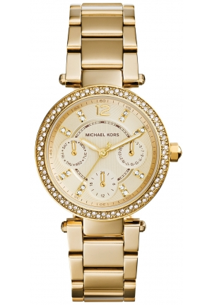 Michael Kors Women's Chronograph Mini Parker Gold-Tone Stainless Steel Bracelet Watch 33m