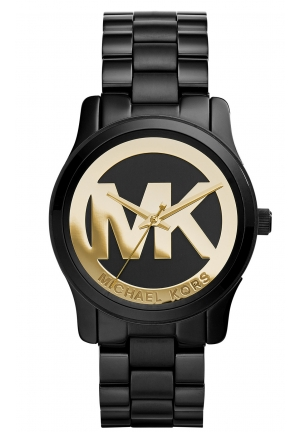 Runway Black and Gold Dial Black Ion-plated Ladies Watch 34 mm