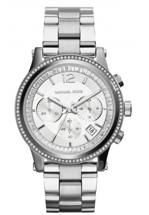 MICHAEL KORS Heidi Chronograph Crystal Silver Dial Stainless Steel Ladies Watch 40mm