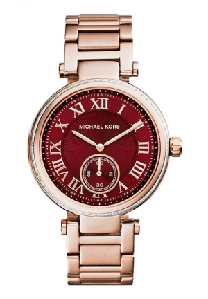 Skylar Red Dial Rose Gold Steel Ladies Watch 42mm