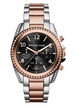 MICHAEL KORS Blair Chronograph Black Dial Two-tone Ladies Watch