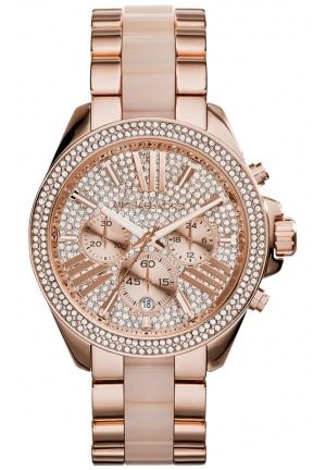 MICHAEL KORS Women's Chronograph Wren Blush and Rose Gold-Tone Stainless Steel Bracelet Watch 42mm