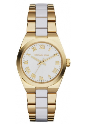 MICHAEL KORS Channing White Dial Gold-tone and White Acrylic Ladies Watch 38mm
