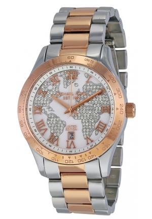 MICHAEL KORS White Crystal-set Dial Two-tone Ladies Watch 42mm