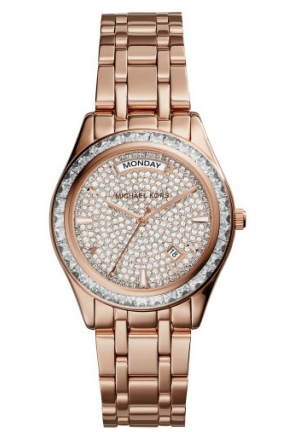 MICHAEL KORS Kiley Pavé Rose Gold-Tone Watch 34mm