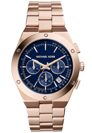 MICHAEL KORS Women's Chronograph Reagan Rose Gold-Tone Stainless Steel Bracelet Watch 42mm