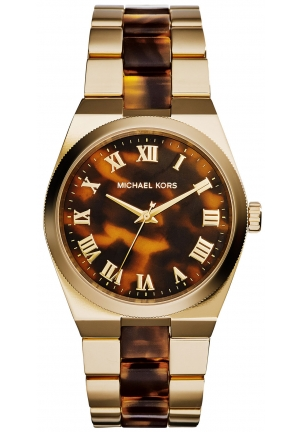 MICHAEL KORS Channing Gold-Tone Tortoise Acetate Watch 38mm