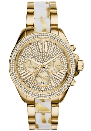MICHAEL KORS Women's Chronograph Wren White Zebra and Gold-Tone Stainless Steel Bracelet Watch 42mm