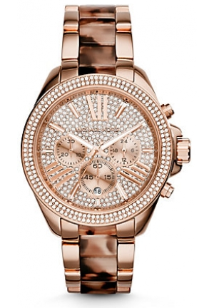 Michael Kors Women's Chronograph Wren Blush Tortoise and Rose Gold-Tone Stainless Steel Bracelet Watch 42mm