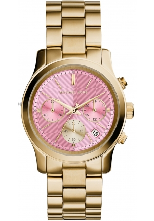 Runway Gold, Pink Stainless Steel Band with Pink Dial Watch 38mm