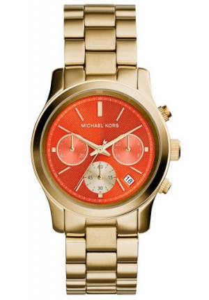 Runway Chronograph Orange Dial Gold-tone Ladies Watch 38mm