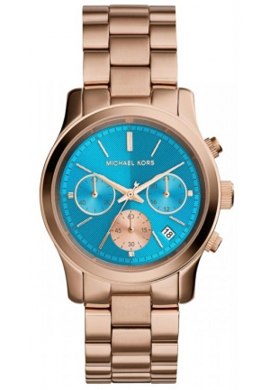MICHAEL KORS Chronograph Runway Rose Gold-Tone Stainless Steel Bracelet Watch 38mm