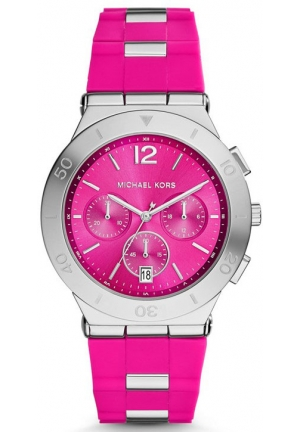 MICHAEL KORS Wyatt Silver-Tone Pink Silicone Watch 40mm