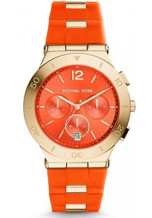 Wyatt Gold-Tone Orange Silicone Watch 40mm