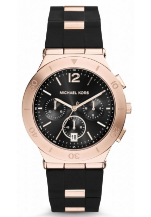 MICHAEL KORS Wyatt Rose Gold-Tone Black Silicone Watch 40mm