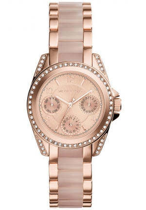 MICHAEL KORS Women's Chronograph Mini Blair Blush and Rose Gold-Tone Stainless Steel Bracelet Watch 33mm