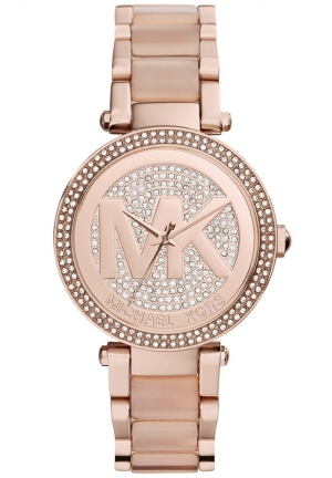 MICHAEL KORS Women's Parker Blush Acetate and Rose Gold-Tone Stainless Steel Bracelet Watch 39mm