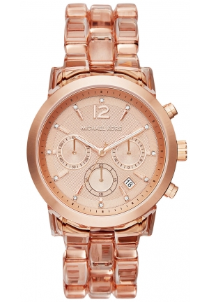 MICHAEL KORS Audrina Blush Acetate and Rose Gold-Tone Watch 41MM