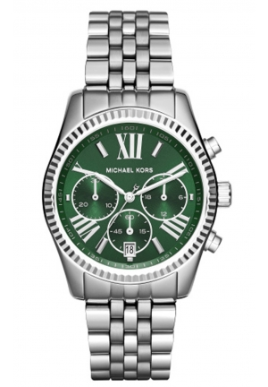 MICHAEL KORS Lexington Green and Silver-Tone Watch 38mm