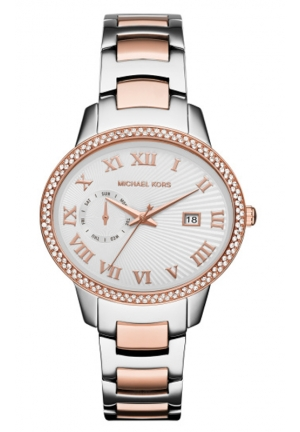 MICHAEL KORS  Whitley Pavé Silver And Rose Gold-Tone Watch