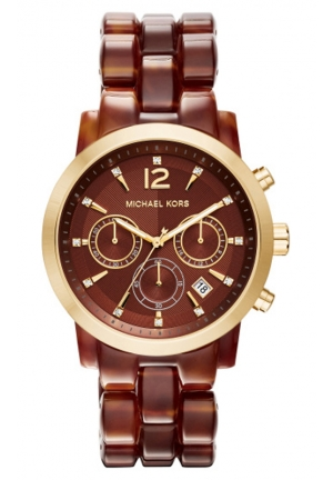 MICHAEL KORS Audrina Amber Acetate and Gold-Tone Watch 41mm
