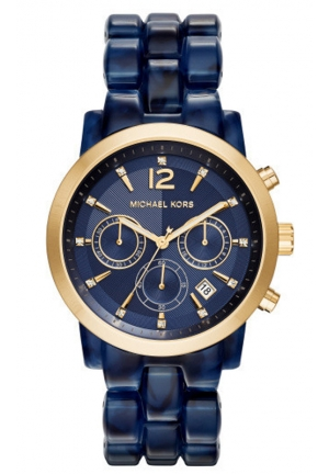 MICHAEL KORS Audrina Navy Acetate and Gold-Tone Watch 41,5mm