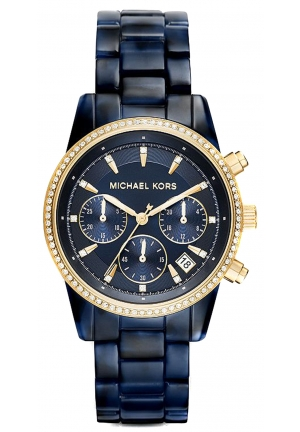 MICHAEL KORS Ritz Blue Dial Chronograph Navy Tortoise Acetate Ladies Watch 37mm