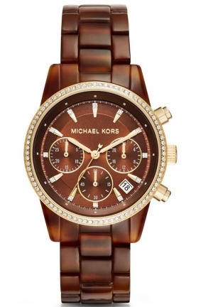 MICHAEL KORS Ritz Brown Dial Chronograph Tortoise Acetate Ladies Watch 37mm MK6279