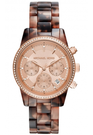 MICHAEL KORS Ritz Champagne Dial Chronograph Tortoise Acetate Ladies Watch 37mm MK6280