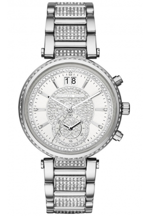 MICHAEL KORS Sawyer Silver Crystal Pave Dial Stainless Steel Ladies Watch 39mm