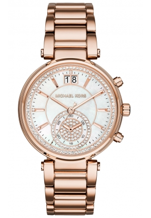 MICHAEL KORS Sawyer Mother of Pearl Crystal Pave Dial Rose Gold-Tone Ladies Watch 39mm