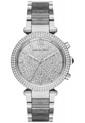 MICHAEL KORS  Parker Pavé Silver-Tone And Glitter Acetate Watch 39mm