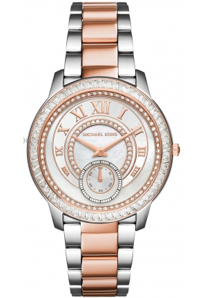 MICHAEL KORS  Madelyn Pavé Silver And Rose Gold-Tone Watch