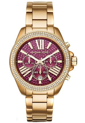 MICHAEL KORS Wren Fuchsia Crystal Pave Gold-Tone Stainless Steel Ladies Watch 42mm