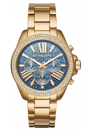 MICHAEL KORS Wren Blue Crystal Pave Chronograph Gold-Tone Ladies Watch 42mm