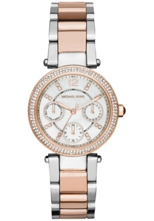 MICHAEL KORS Parker Mini multi funtction with silver & rose gold link 33mm
