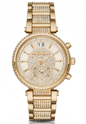 MICHAEL KORS Sawyer Champagne Crystal Pave Dial Gold-Tone Steel Ladies Watch 39mm