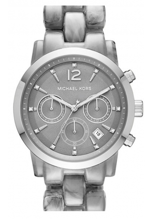 MICHAEL KORS Audrina Grey Dial Chronograph Acetate Ladies Watch 42mm