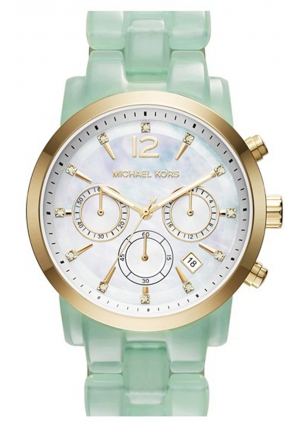 MICHAEL KORS Audrina Mother of Pearl Dial Mint Gold Ladies Watch 42mm