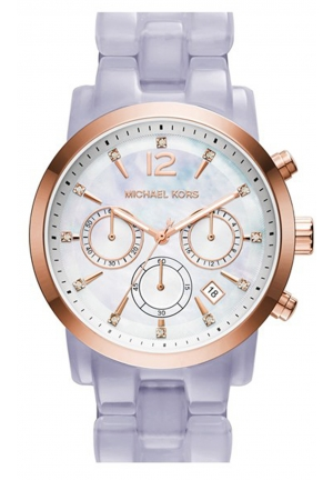 MICHAEL KORS Audrina Mother of Pearl Dial Lavender Acetate Ladies Watch 42mm