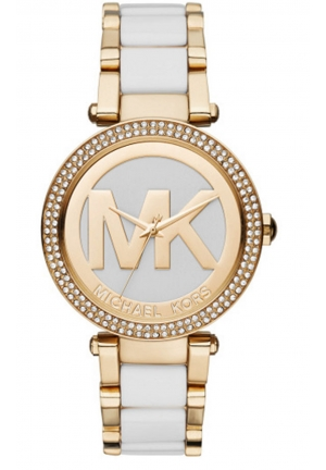 MICHAEL KORS Parker Gold-Tone and White Acetate Ladies Watch 39mm