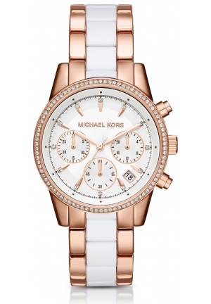 MICHAEL KORS  Ritz Pavé Rose Gold-Tone And Acetate Watch