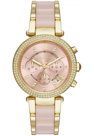 Parker Pink Acetate and Gold-Tone Chrono Watch MK6326