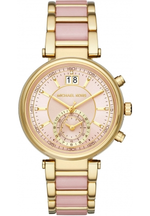 Sawyer Gold-Tone and Blush Acetate Chronograph Watch