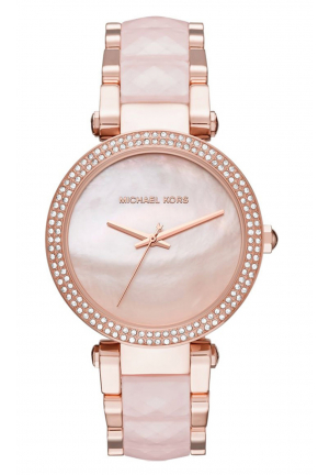 PARKER ROSE GOLD-TONE AND BLUSH ACETATE LADIES WATCH