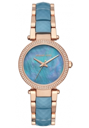 Parker Rose Gold-Tone and Ocean Blue Acetate Three-Hand Watch