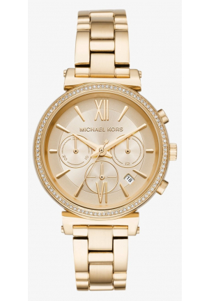 MICHAEL KORS Sofie Pavé Gold-Tone Watch