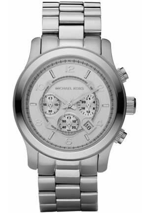 MICHAEL KORS Unisex Chronograph Runway Silver-Tone Bracelet Watch 45mm